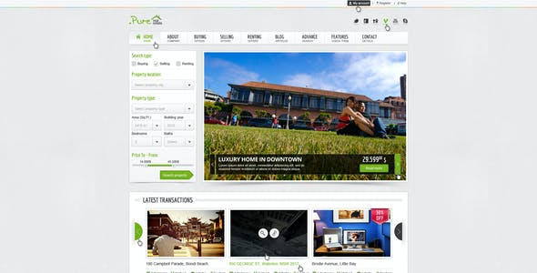 Pure Real Estate Multipurpose PSD Theme