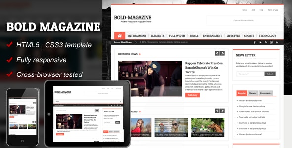 Bold Magazine - HTML5 Responsive Template - Corporate Site Templates