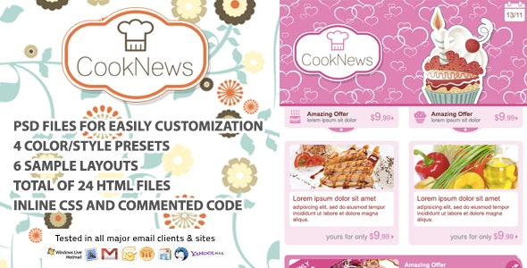 Newsletter Cook News - Email Templates Marketing