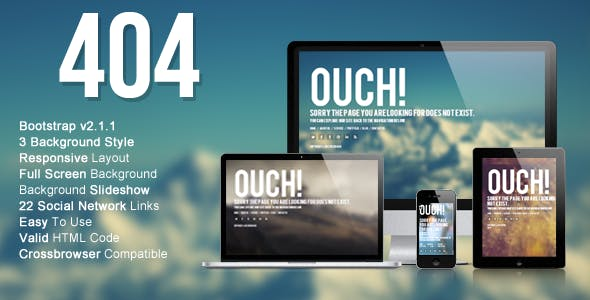Fullscreen Custom HTML 404 Pages from ThemeForest