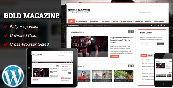 Bold Magazine Responsive WordPress Theme - Blog / Magazine WordPress