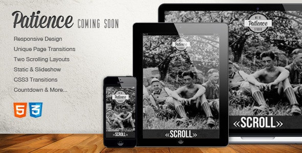 Patience - Responsive Coming Soon HTML5 Template - Under Construction Specialty Pages