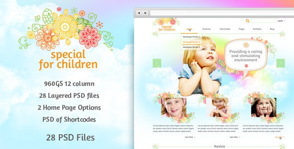 Special for Children and Baby - PSD Template - Children Retail