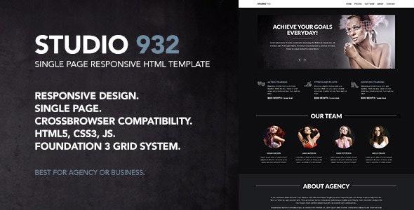 Studio 932 - Single Page Responsive Template - Creative Site Templates