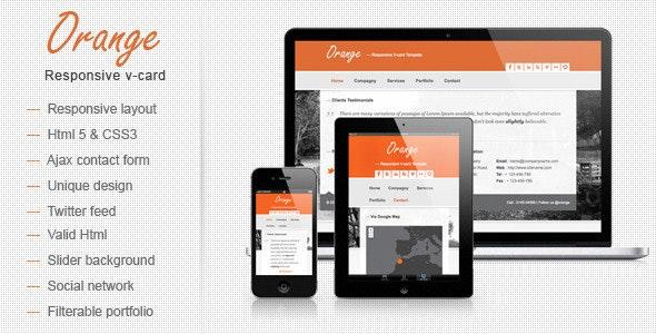 Orange Responsive V-card Template - Virtual Business Card Personal