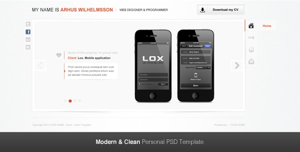 Modern & Clean Personal PSD Template - Virtual Business Card Personal
