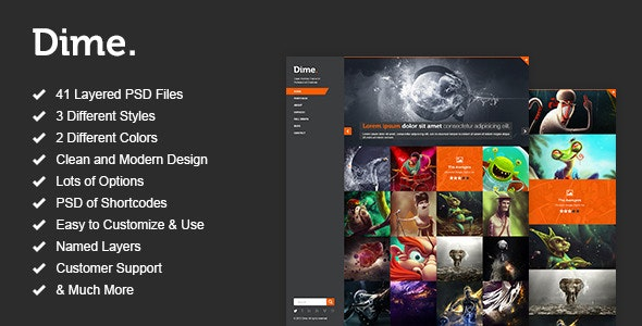 Dime - Agency / Business Portfolio PSD Template - Creative Photoshop