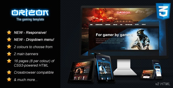 Orizon - The Gaming Template HTML version by Skywarrior