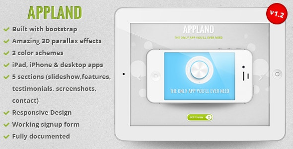 AppLand - Responsive Bootstrap Parallax App Landing Page - Apps Technology