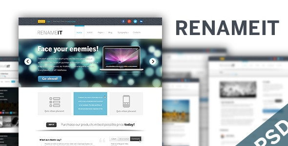 Renameit - Light PSD Template - Creative Photoshop