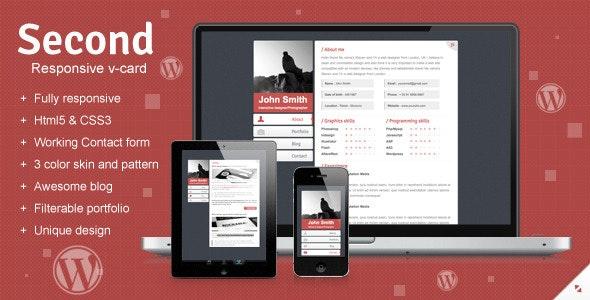 Second Responsive Wordpress V-card - Portfolio Creative
