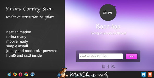 Anima - Coming Soon Template - Under Construction Specialty Pages