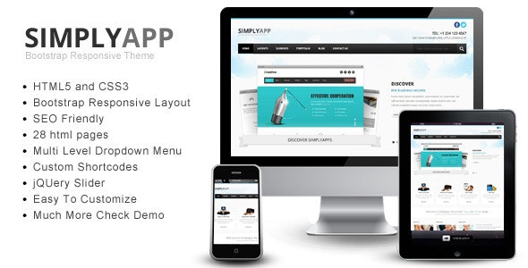 Simplyapp – Bootstrap Responsive HTML Template - Corporate Site Templates