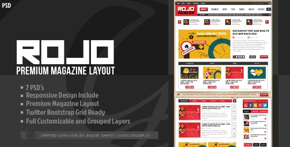 ROJO   Magazine/News PSD Template