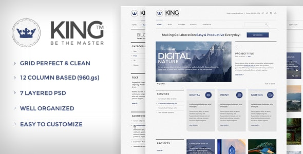 KING PSD Template - Creative Photoshop