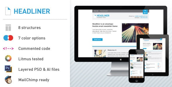 Headliner: Email Marketing & Newsletter Template - Email Templates Marketing