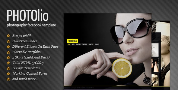 Photolio - Facebook Photography/Portfolio Template - Photography Creative