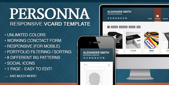 Doctype Personna -  Responsive vCard Template - Virtual Business Card Personal