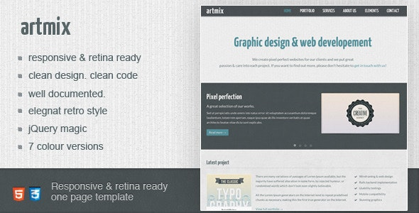 Artmix - Responsive Retina Ready One Page Template - Creative Site Templates