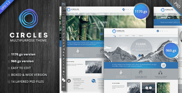 Circles PSD Template - Corporate Photoshop