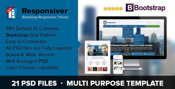 Responsiver Multipurpose Bootstrap PSD Template  - Corporate Photoshop