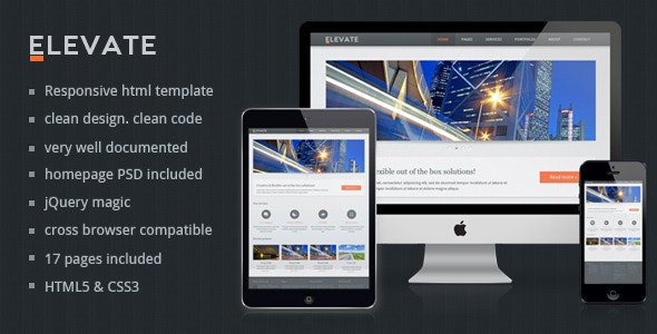Elevate - Responsive Multipurpose HTML Template - Corporate Site Templates
