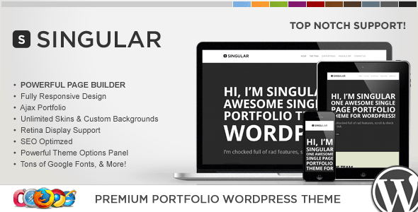 WP Singular - One Page Responsive WordPress Theme - Portfolio Creative