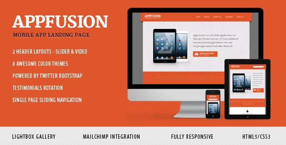 AppFusion - Nifty Little Responsive Landing Page - Apps Technology
