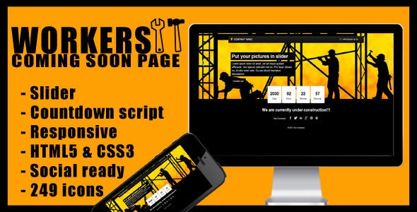 Workers – Countdown Responsive HTML5 Template - Under Construction Specialty Pages