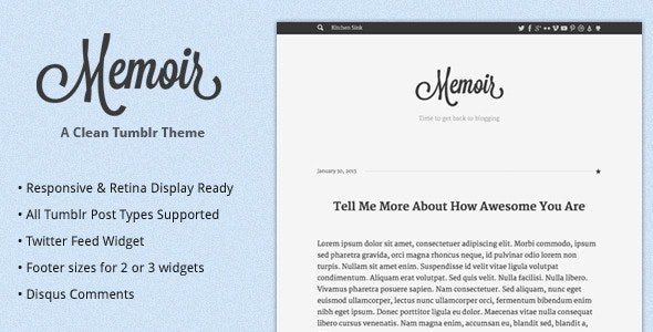 Memoir Tumblr Theme - Blog Tumblr