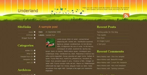 Underland Template for Blogger - Blogger Blogging