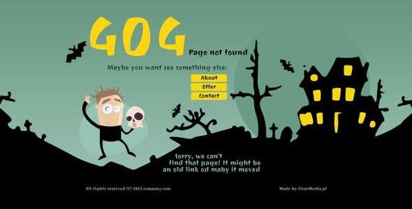 Modern animated 404 page