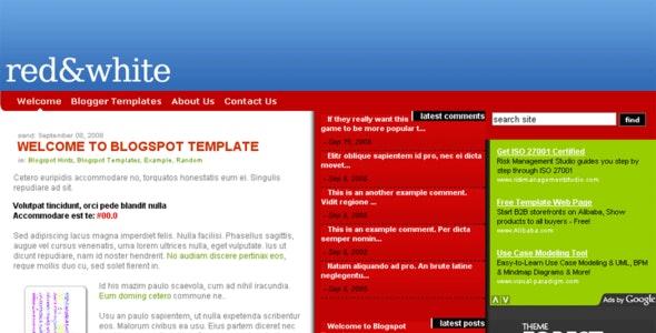 Red.White Blogspot Template - Blogger Blogging