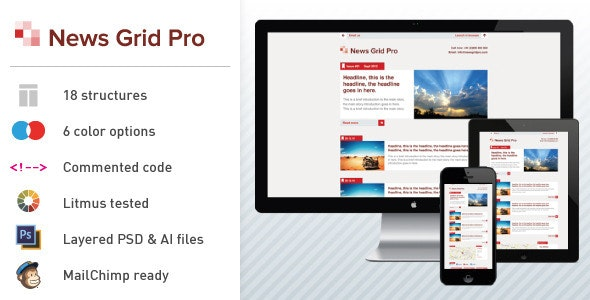 News Grid Pro - Email Newsletter Template - Email Templates Marketing