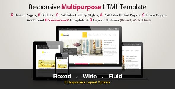 Responsive Html Template Bound Corporate Site Templates
