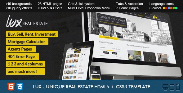 Lux - Huge and Unique Real Estate HTML - Business Corporate
