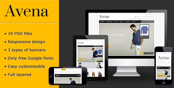 Avena PSD eCommerce template - Retail Photoshop