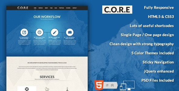 Core - OnePage HTML5 - Creative Site Templates