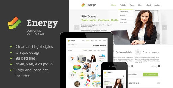 Energy - PSD Template - Corporate Photoshop