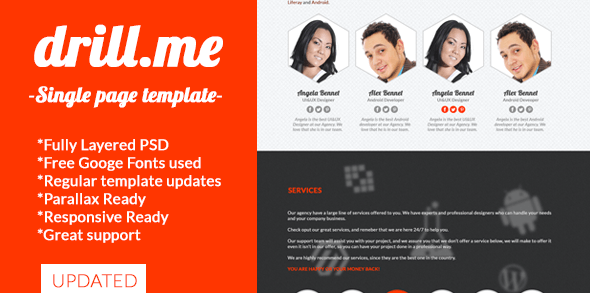 drill.me - Single Page Responsive Ready PSD - Photoshop UI Templates