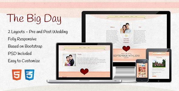 The Big Day - Responsive One-Page Wedding Template - Events Entertainment