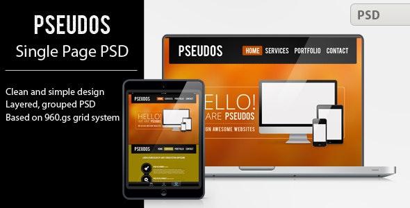 Pseudos Single Page PSD Template - Portfolio Creative