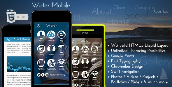 Water Mobile - Mobile Site Templates