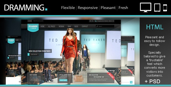 Dramming - Pleasant ecommerce site template. - Retail Site Templates