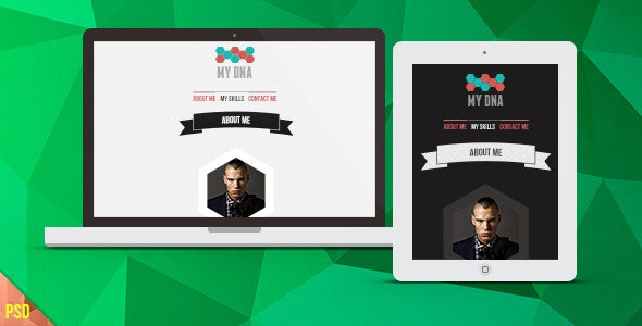 My DNA PSD Template | Onepage vCard - Virtual Business Card Personal