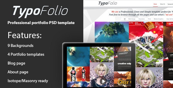 TypoFolio White - Portfolio PSD Template - Portfolio Creative