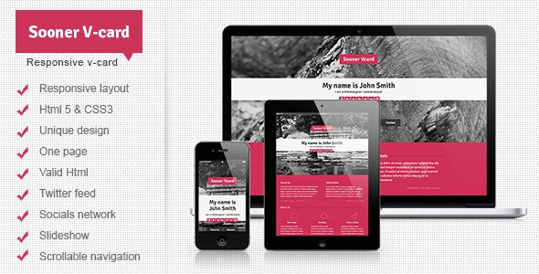 Sooner Responsive One Page V-card Template - Virtual Business Card Personal