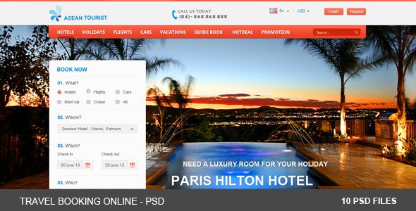 Travel Booking Online - PSDs - Retail Photoshop