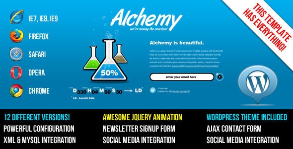 Alchemy - Under Construction Template + WP Theme - Under Construction Specialty Pages