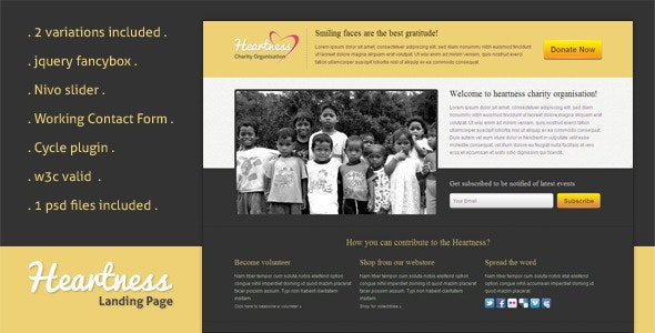 Heartness - Fundraising / Donation Landing Page - Charity Nonprofit